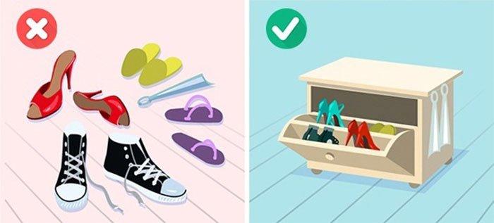 mẹo sắp xếp đồ đạc thông minh - sắm kệ để giày
