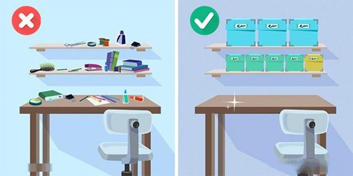 sắp xếp đồ trên bàn làm việc