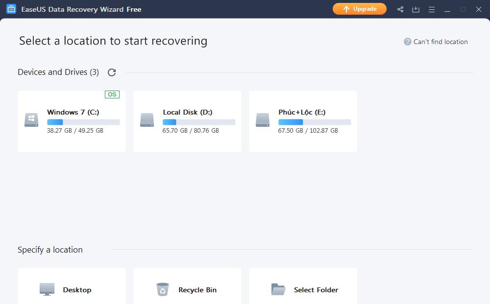 Cách Phục hồi hình ảnh với phần mềm EaseUS Data Recovery Wizard