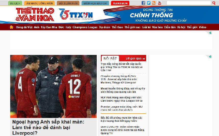 5 trang tin bóng đá nóng hổi nhất Việt Nam