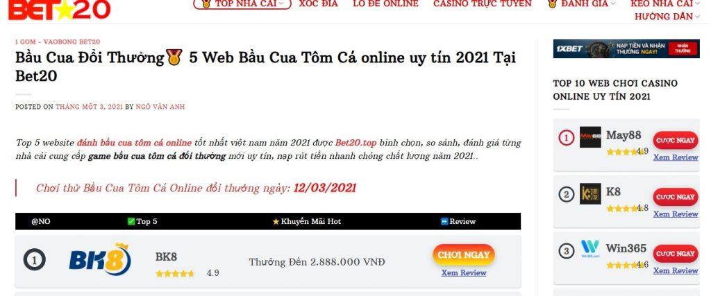 Bet20.top – Đánh giá trang bầu cua tôm cá đổi thưởng uy tín tại Việt Nam
